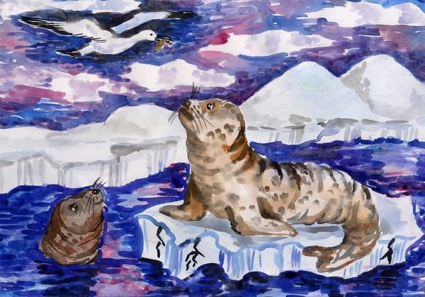 подпиши рисунки тюлень на льдине осень весну можем